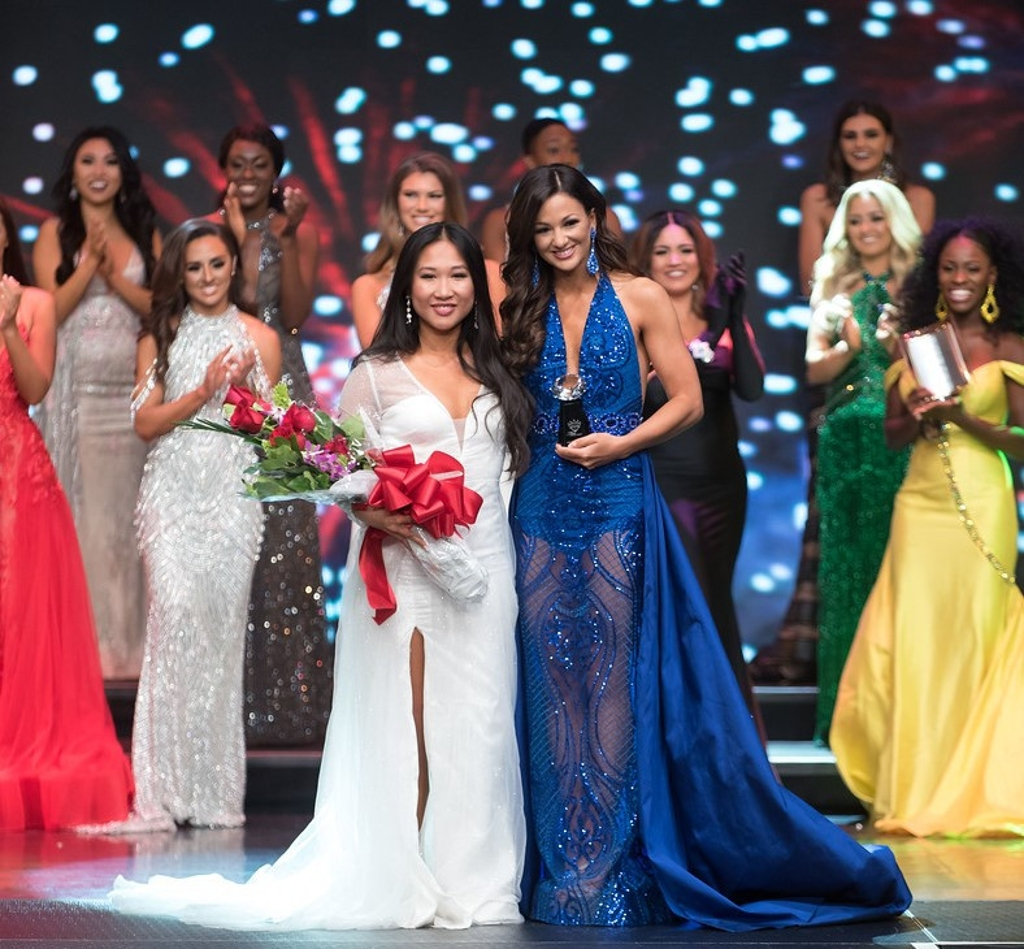 Milan Nguyen in the evening gown competition.