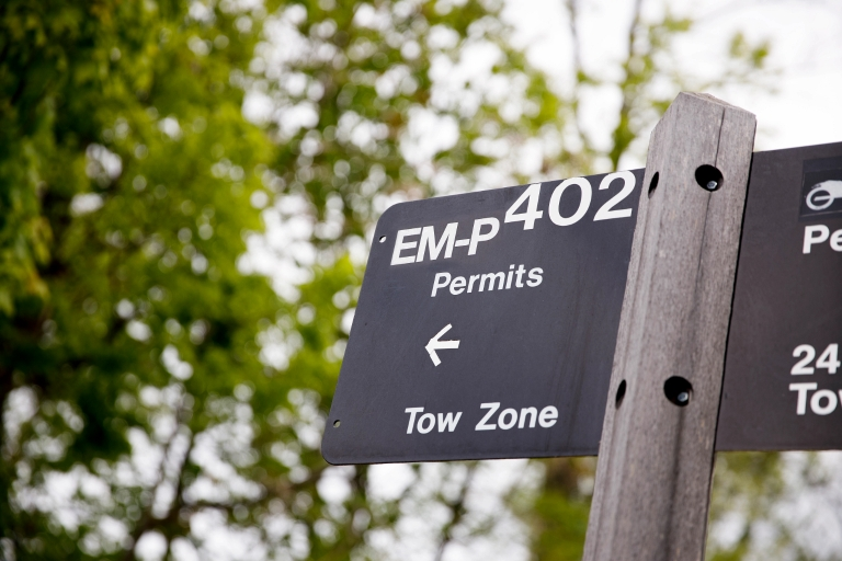 An EM-P parking sign on the IU Bloomington campus